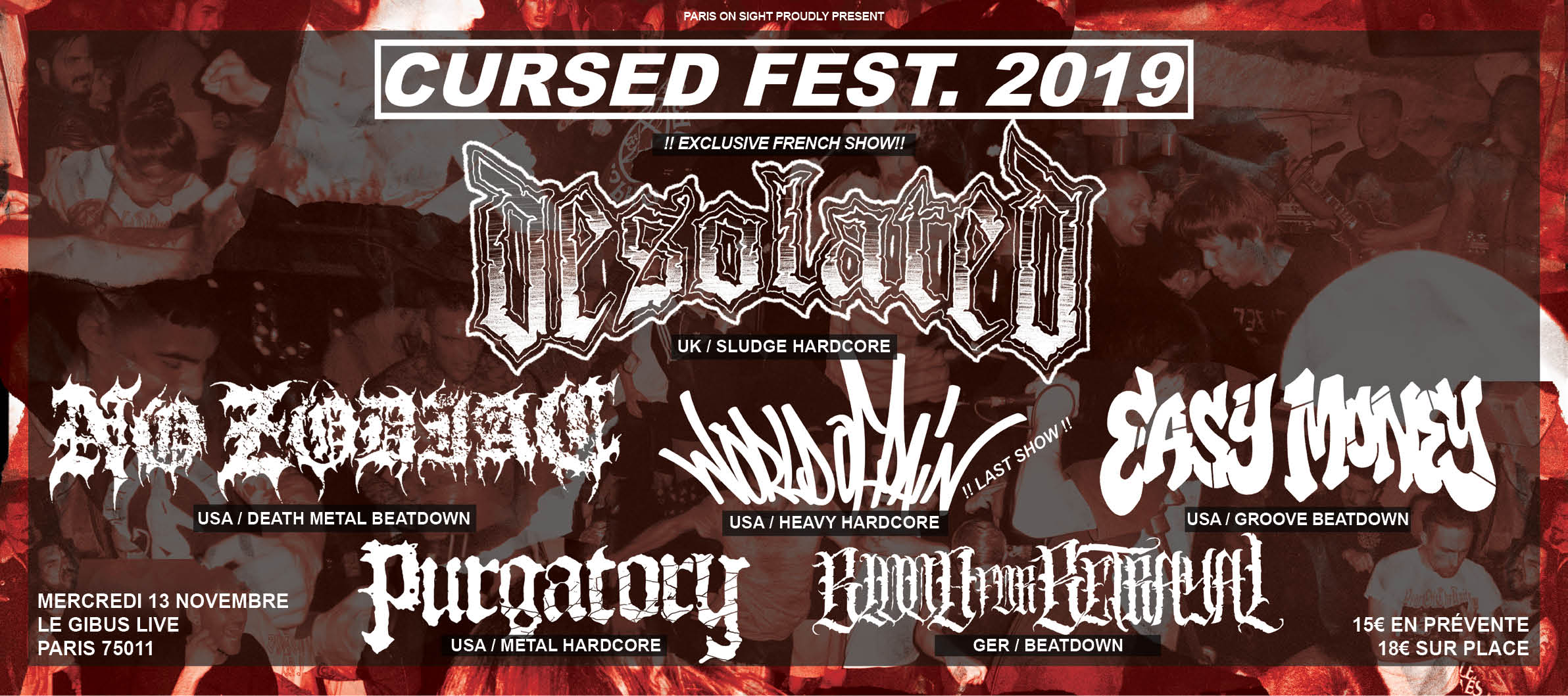 13/11/2019 – Cursed Fest. 2019 • Desolated • NO ZODIAC • World Of Pain…